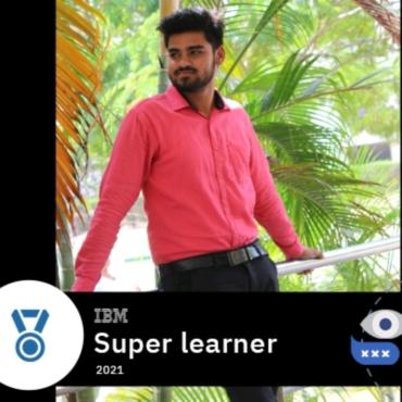 Mr. D.Praveen Kumar, CSE2020 Batch recognized as Super Learner 2021 by IBM